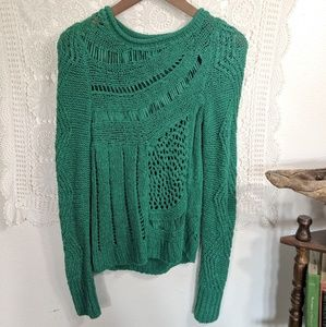 Anthropologie Moth crepe knit sweater in green